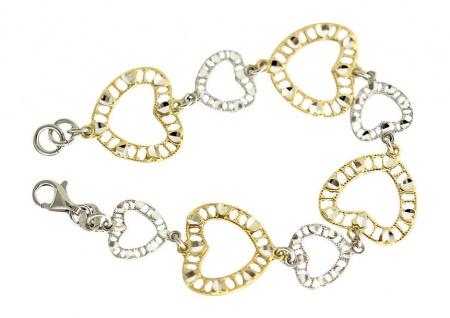 Herz Armband Gold und Silber 925 breites Silberarmband massive Herzen Armkette