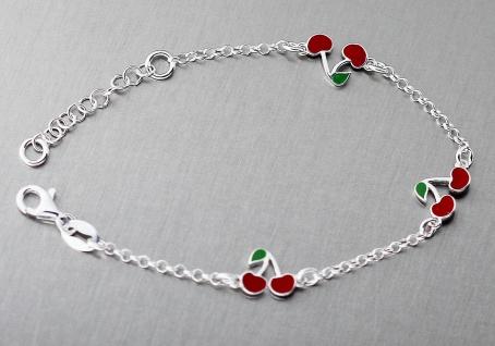 Silberarmband 925 mit kleinen roten Kirschen Armband Kinder Armkette massiv