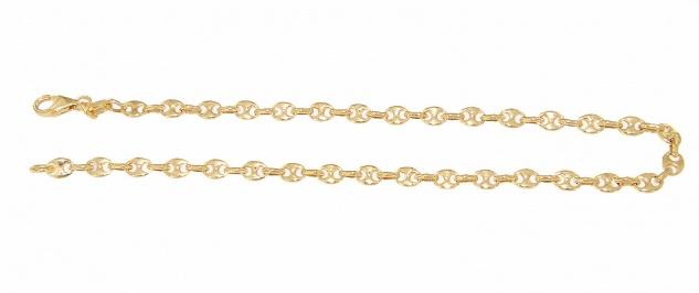 Armband Gold 585 massiv Karabiner Bohnenkette 14 Karat Armkette 21 cm