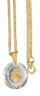 Sternzeichen Jungfrau auf Kristall Anhänger + Panzerkette vergoldet Goldkette
