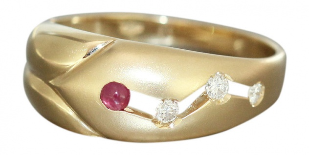 Damenring Gold 585 m. Brillianten Rubin Goldring Brillantring Ring Gelbgold RW55