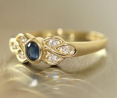 Goldring 750 mit Saphir und Zirkonias - edler Ring echt Gold 18 kt - Saphirring