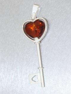 Schlüssel zum Herzen! Anhänger echt Silber 925 mit Bernstein Herz Silberanhänger