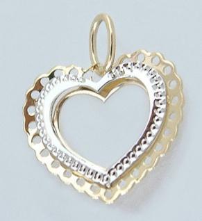 Herz aus Gold 585 - Anhänger Herz Zweifarbengold 14 kt - Goldherz - Goldanhänger