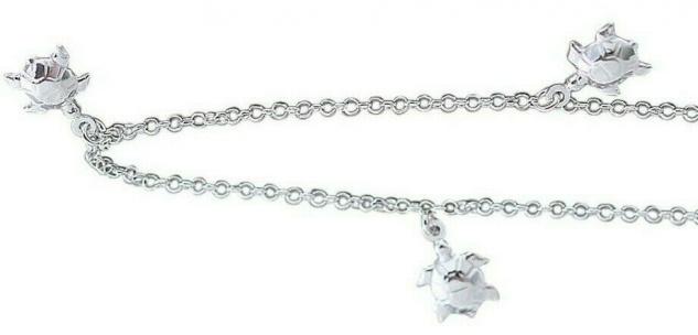 Fußkettchen Silber 925 Schildkröten Anhänger Erbskette Silberkette Fußkette