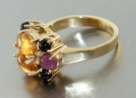 Ring Gold 750 Citrin Rubin Saphir Cabochons Goldring 18 Kt multicolor Edelsteine