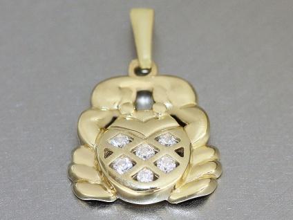 Sternzeichen Krebs - Anhänger Gold 750 und Zirkonias - Goldanhänger 18 kt