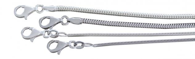 Schlangenkette Silber 925 massiv Silberkette Halskette Karabiner Kette 40 42 45