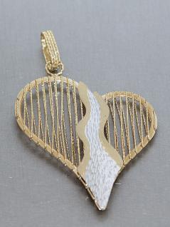 Großes Goldherz - Anhänger Gold 585 - Herz in Zweifarbengold Goldanhänger 14 kt