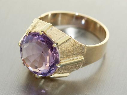 Ring Gold 585, Goldring 14 karat mit 1 Amethyst, Damenring