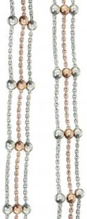 3-reihige Halskette od Armband Silber 925 bicolor Rotgold Kugelkette Silberkette - Vorschau 2