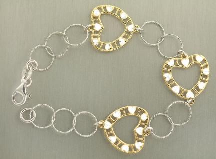Silberarmband 925 Herzen Gold Armband Silber massiv Herz Gold pl Armkette