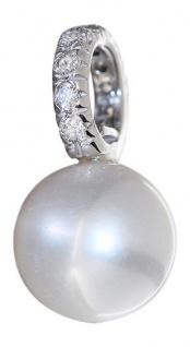 Perlenanhänger Weißgold 585 Anhänger 14 Karat echte Perle u Zirkonias