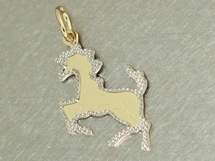 Anhänger Pferdchen Gold 585 - Goldanhänger bicolor Goldpferd kleines Pferd 14 kt