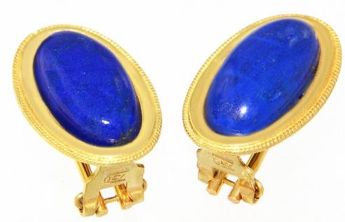 Ohrstecker Gold 750 Lapis Cabochons - Ohrclips Ohrringe 585 Ohrhänger 18 Karat