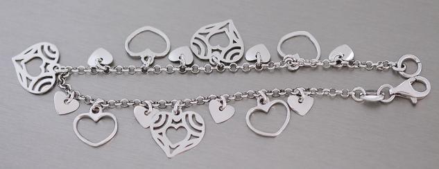 Armband Silber 925 rhodiniert + Herzen Bettelarmband Silberarmband Herz Armkette