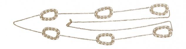 87 cm lange Goldkette 750 / 18 Karat m. Dekorgliedern Halskette Gelbgold Collier