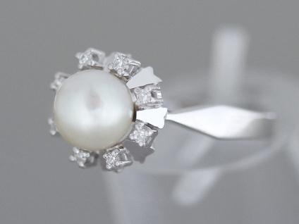 Perlenring Weißgold 585 m. Perle + Diamanten 0, 10 ct. Ring Perle Damenring Gold - Vorschau 2