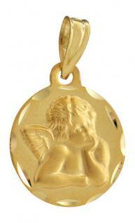 Schutzengel Anhänger Gold 585 - Goldanhänger Engel 14 kt zur Taufe od. Kommunion
