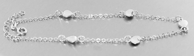 Fußkette Silber 925 massiv Herz runde Dekorglieder Fußkettchen Damen
