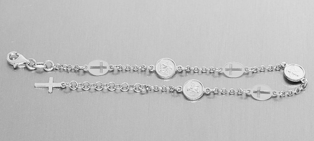 Schutzengel Kreuz Armband Silber 925 rhodiniert Armkette Angelo Silberarmband