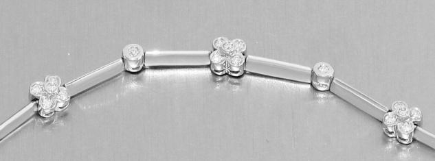 Armband Weißgold 750 Blumen Zirkonia Armkette 11 gr. Damen 18, 5 cm