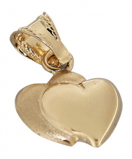Goldanhänger Herz 585 - Anhänger Gold 585 - kleines Doppelherz - Goldherz 14 kt