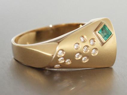 Goldring 585 mit Brillant Blume und Smaragd Ring Gold Brillantring Damenring