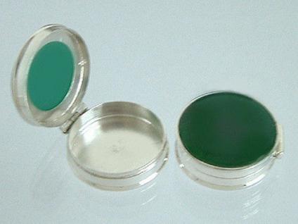 Silberdose 925 - Pillenbox mit grünem Achat - Silberdose 925er Sterlingsilber