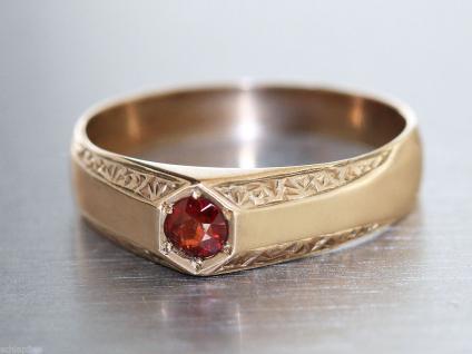 Ring Gold 250 mit rubinrotem Schmuckstein, Gold Ring 250, 6 kt Goldring