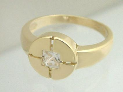 Toller Ring Gold 585 Goldring mit Zirkonia Carree moderner Damenring Gold