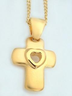 Anhänger Kreuz und Panzerkette Gold vergoldet Schmuckset Kreuz Goldkette Kette