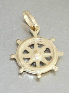 Kleines Steuerrad Gold 585 Anhänger Maritimer Goldanhänger 14 Kt Gelbgold