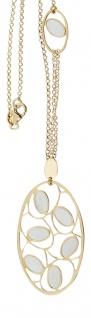 Collier Silber 925 vergoldet Anhänger mit Perlmutt Silberkette Collier Halskette