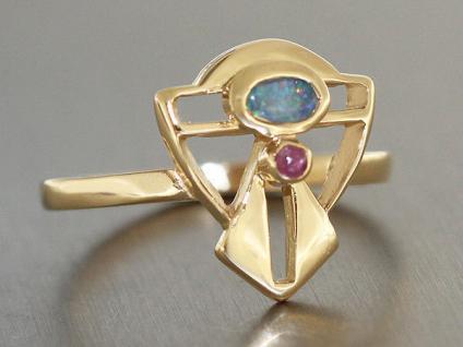 Goldring 750 mit Opal und Rubin Jugendstil Design Ring Gold Opalring Damenring - Vorschau 2