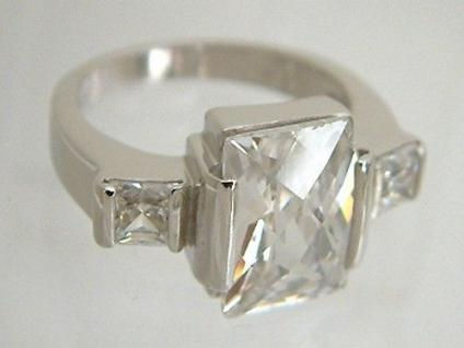 Super Silberring 925 große funkelnde Zirkonia massiver Ring Silber 925