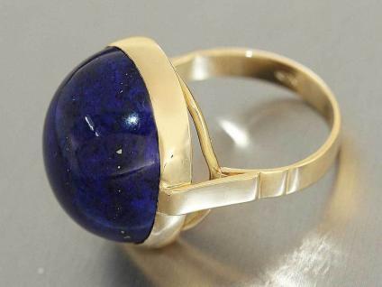 Schwerer Ring Gold 750 Lapis Lazuli CabochonGoldring 18 Karat Damenring 11, 8 gr.