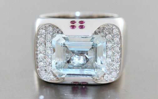 Ring Weißgold 750 Aquamarin Brillant Rubin Weißgoldring Damen Designerring 20 gr