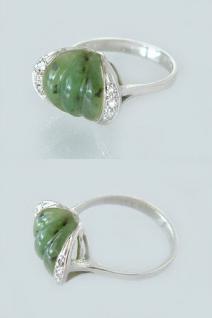 Eleganter Weißgoldring 585 mit Jade Diamantring - Ring Weißgold 14 kt - Jadering