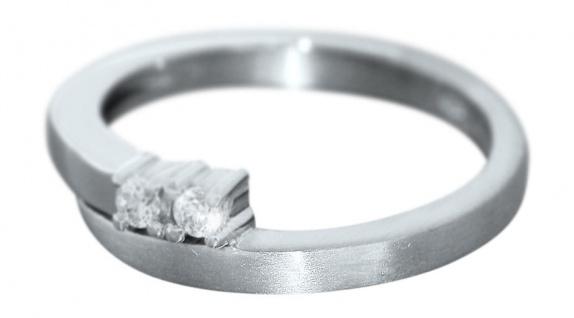 Eleganter Ring Weißgold 585 mit Zirkonias - Weißgoldring massiv - 14 kt Gold