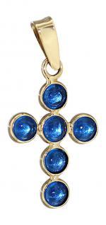 Kleines Kreuz Gold 585 Anhänger Goldkreuz 14 Karat blaue Steinen Kettenanhänger