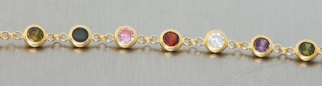 Armband Silber 925 vergoldet Zirkonias multicolor Armkette bunt Damen variabel - Vorschau 3