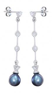 Lange Ohrhänger Weißgold 585 mit grauer Perle - Ohrstecker Perlenohrhänger Gold