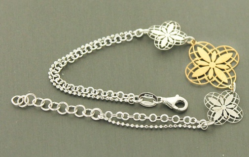 Blumen Armband Silber 925 - Armband Silber Gold - Armkette massiv Silberarmband