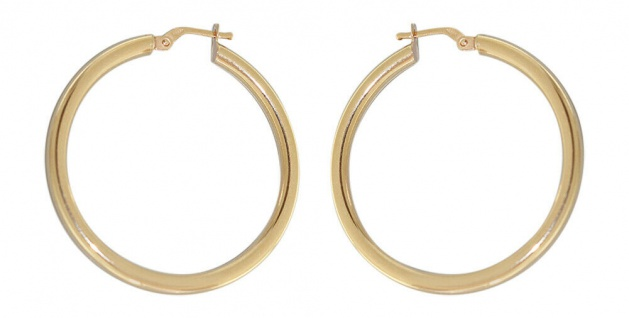 Große Creolen Gold 585 Ohrringe 3, 6 mm Ø Ohrschmuck 14 Karat glänzend Damen - Vorschau 2