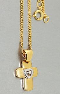 Anhänger Kreuz mit Herz Gold pl mit Panzerkette vergoldet od. Kautschukkette