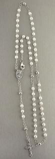 Rosenkranz Kette Silber 925 weiße Perlen Hl. Maria u Kreuz Silberkette Rosario