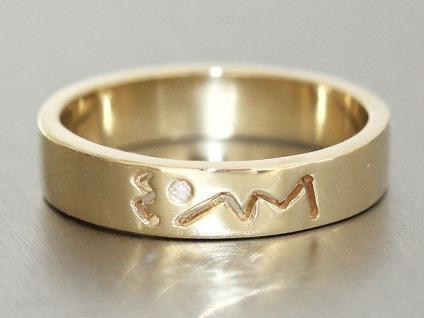 Moderner Bandring Ring Gold 585 mit Brillant Goldring massiv Brillantring