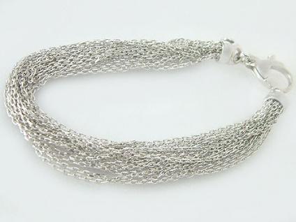 15-reihiges Silberarmband 925 - Armband Silber + Karabiner Silberkette Armkette