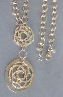 Design Collier - Goldkette 585 - Kette Gold mit Anhänger - 14 Karat